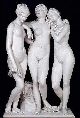 Lesbian Photograph - The Three Graces by James Pradier