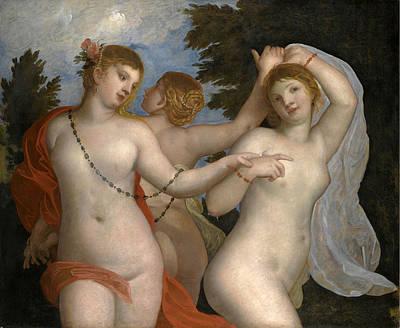 Padovanino Painting - The Three Graces by Alessandro Varotari