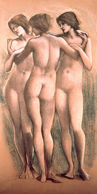 Female Nude Drawing - The Three Graces by Sir Edward Coley Burne-Jones