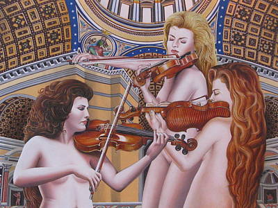 Moshe Painting - The Three Graces -detail by Moshe Rosental