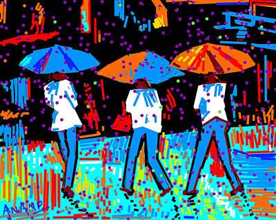 Life Study . Ganesha Digital Art - The Three In Rain by Anand Swaroop Manchiraju