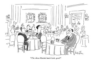 Martini Drawing - The Three-martini Lunch Looks Good by Arnie Levin