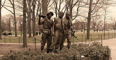 Military Bronze Photograph - The Three Soldiers Bronze Statues by Panoramic Images