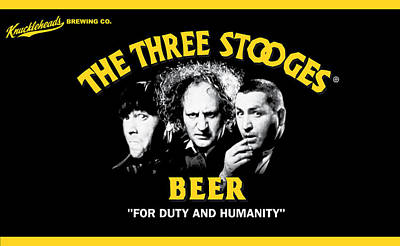 The Three Stooges Beer Art Print by Official Three Stooges