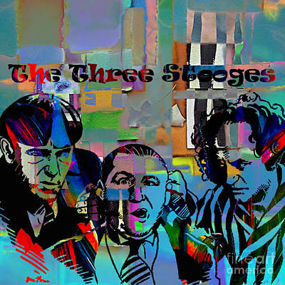 Vintage Mixed Media - The Three Stooges Collection by Marvin Blaine