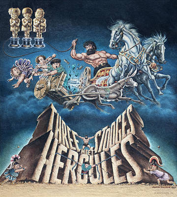 Vintage Circus Painting - The Three Stooges Meet Hercules by Official Three Stooges