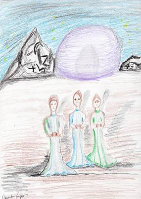 Drawing - The Three Wallows by Cassandra Vanzant