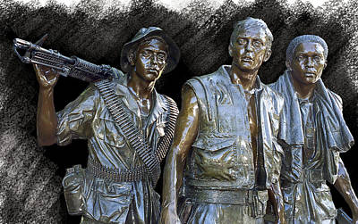 Vietnam Veterans Memorial Wall Photograph - The Three Warriors Of Vietnam by Daniel Hagerman