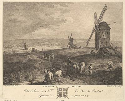 Anton Drawing - The Three Windmills Les Trois Moulins by Balthasar Anton Dunker