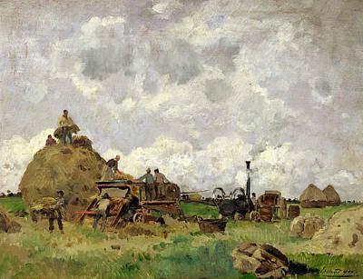 The Threshing Machine Oil On Panel Art Print by Edmond Charles Yon