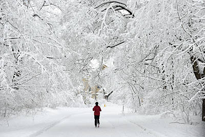 Montreal Winter Scenes Photograph - The Thrill Of Running In Winter Wonderland by David Giral
