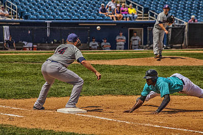 Baseball Royalty-Free and Rights-Managed Images - The Throw To First by Karol Livote