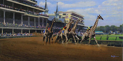 Kentucky Derby Painting - The Thunder Of Hooves by David Zimmerman