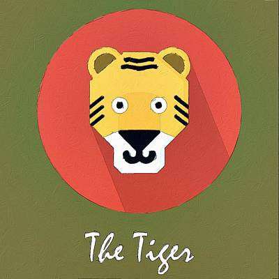 Wild Painting - The Tiger Cute Portrait by Florian Rodarte