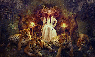 Phantasie Digital Art - The Tiger Temple by Cassiopeia Art