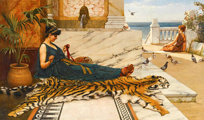 Painting - The Tigerskin. Sewing Girl by John William Godward