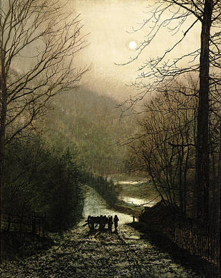 Moonlight Painting - The Timber Wagon by John Atkinson Grimshaw