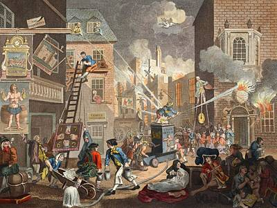 Fire Fighter Drawing - The Times, Plate I, Illustration by William Hogarth