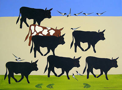 Cattle Drive Drawing - The Toads Saw It All by Susan Greenwood Lindsay