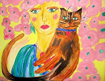 Tortie Painting - The Tortie And The Flower Girl by Marian Griffin