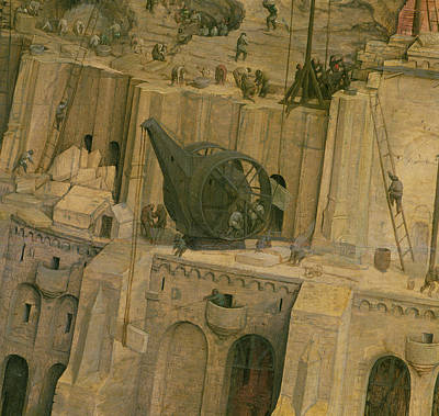 The Tower Of Babel, Detail Of Construction Work, 1563 Oil On Panel Detail Of 345 Art Print