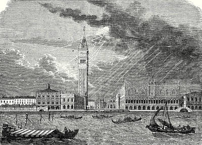 The Heavens Drawing - The Tower Of St. Marks In Venice Struck And Damaged by English School