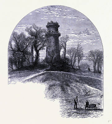 Auburn Drawing - The Tower On Mount Auburn United States Of America by American School