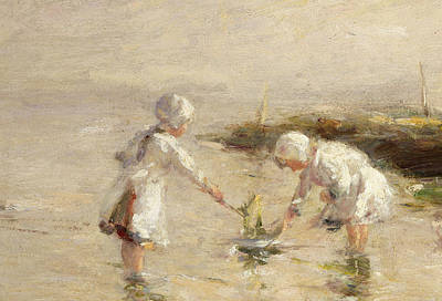Floating Girl Painting - The Toy Boat by Robert Gemmel Hutchison
