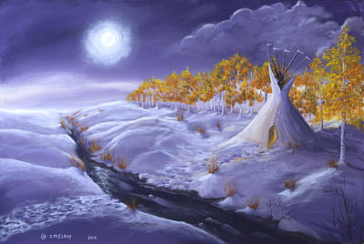 Snowscape Painting - The Trail Home by Jerry McElroy
