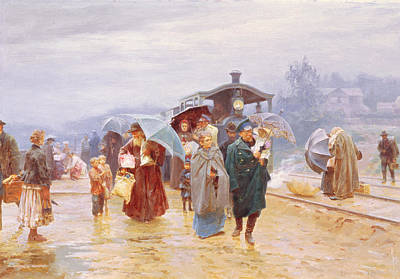 Luggage Painting - The Train Has Arrived, 1894 by Nikolaj Alekseevich Kasatkin