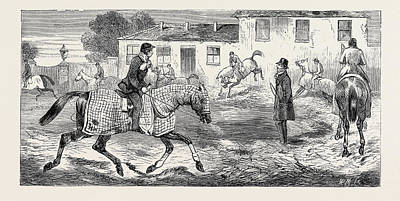 Action Sports Art Drawing - The Training Of A Racehorse Exercising On The Straw Bed by English School