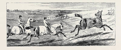 Action Sports Art Drawing - The Training Of A Racehorse The First Gallop On The Downs by English School