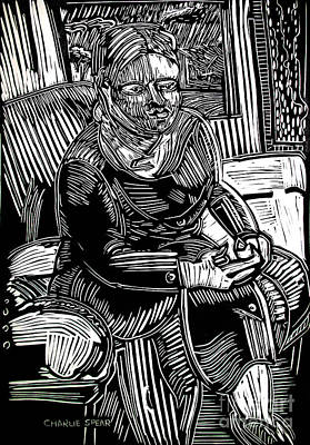 Lino Drawing - The Traveler by Charlie Spear