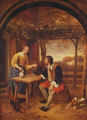 The Travellers Rest Oil Art Print by Jan Havicksz. Steen