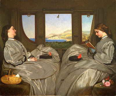 Satin Dress Painting - The Travelling Companions by Augustus Leopold Egg