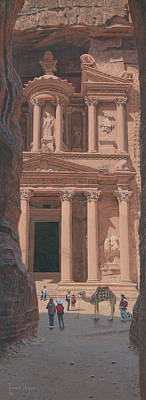 Indiana Landscapes Painting - The Treasury Petra Jordan by Richard Harpum