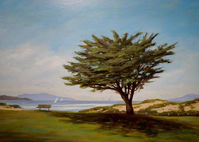 Cypress Tree Drawing - ''the Tree' At Marina Park #2' by Tina Obrien