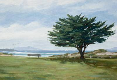 Cypress Tree Drawing - The Tree At Marina Park by Tina Obrien