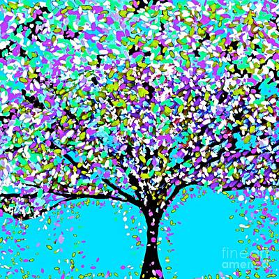 Painting - The Tree Blue Purple Black And White by Saundra Myles
