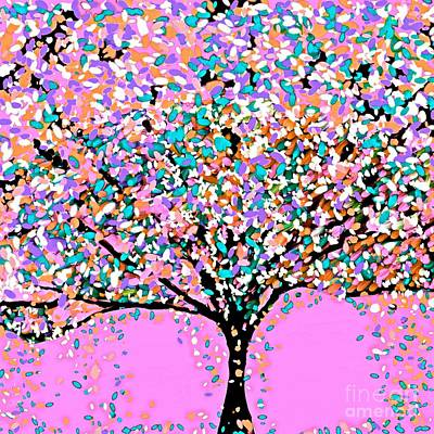 Painting - The Tree Oil Painting Pink  Abstract by Saundra Myles