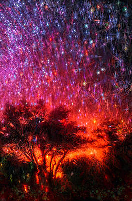 Startrails Digital Art - The Tree On The Edge Of Forever by Michael Filippoff