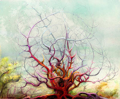 Mystical Landscape Mixed Media - The Tree That Want by Bjorn Eek