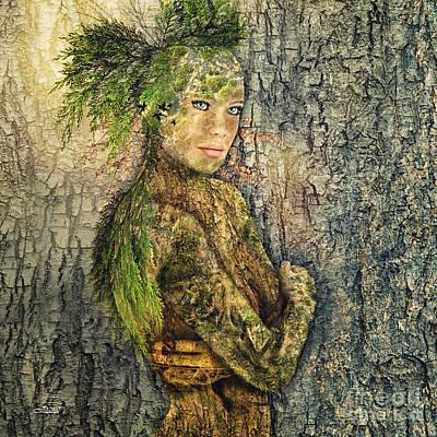 Digital Art - The Tree Woman by Jutta Maria Pusl