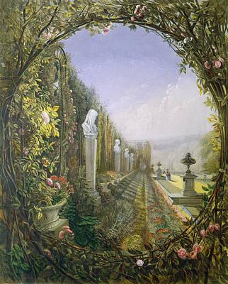 Pedestal Painting - The Trellis Window Trengtham Hall Gardens by E Adveno Brooke