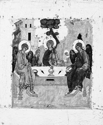 Russian Icon Painting - The Trinity by Russian Painter