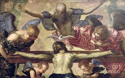 Crucifix Wall Art - Painting - The Trinity by Tintoretto