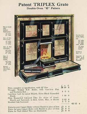 Grate Drawing - The 'triplex' Grate, With   Heated by Mary Evans Picture Library