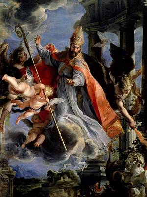 The Triumph Of St. Augustine 354-430 1664 Oil On Canvas Art Print by Claudio Coello
