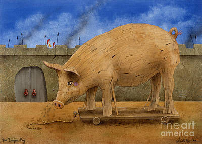 Troy Painting - The Trojan Pig... by Will Bullas