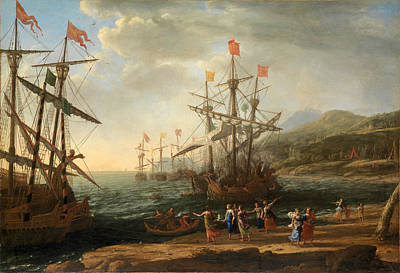 Trojan Painting - The Trojan Women Setting Fire To Their Fleet by Claude Lorrain